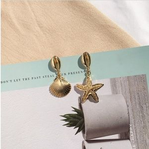 14K Gold Plated Shell Drop Earring Cowrie Starfish
